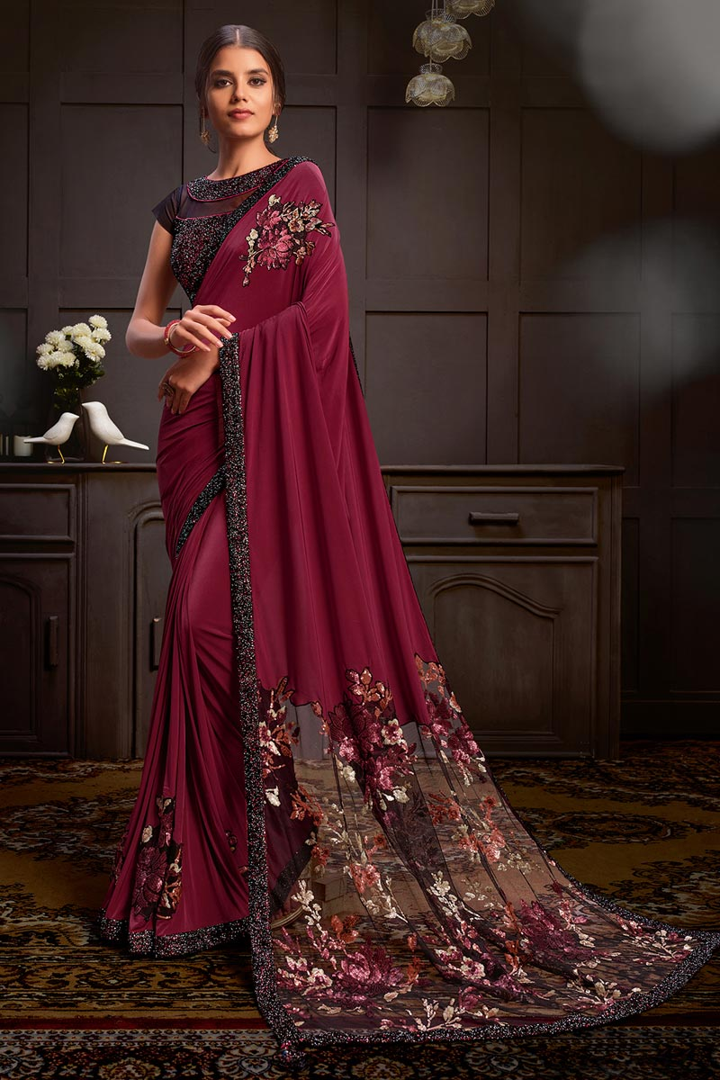 Lycra Fabric Sangeet Wear Maroon Color Sequins Work Saree With Readymade Blouse