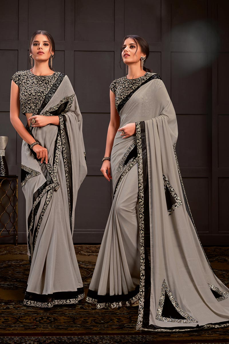 Grey Color Sangeet Wear Georgette Silk Fabric Sequins Work Saree With Readymade Blouse