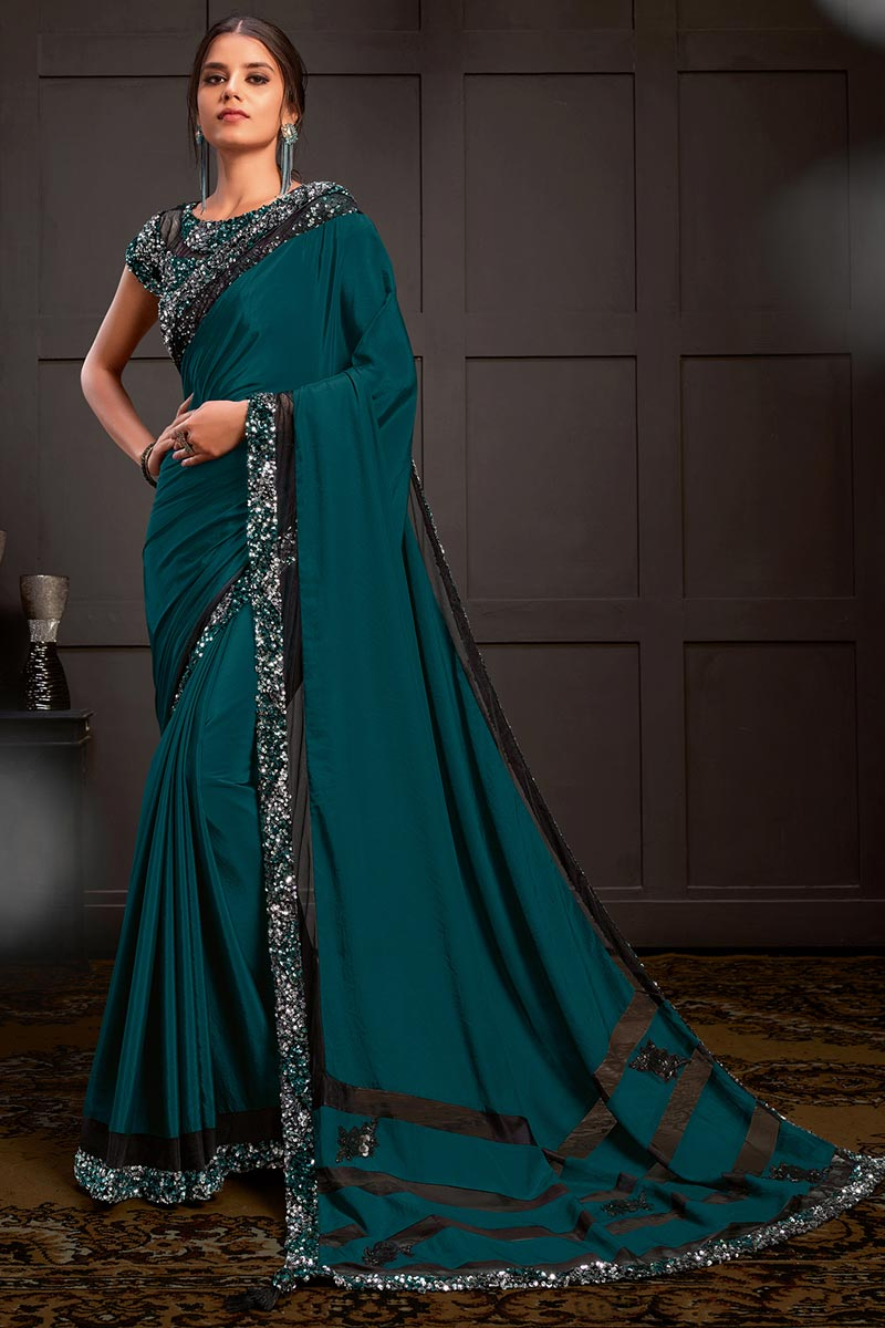 Sangeet Wear Teal Color Sequins Work Saree With Readymade Blouse