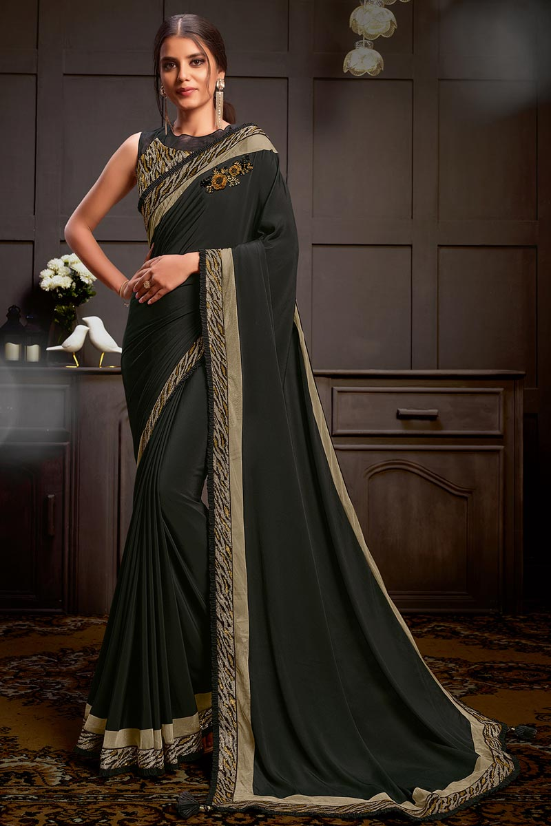Sangeet Wear Black Color Georgette Fabric Sequins Work Saree With Readymade Blouse