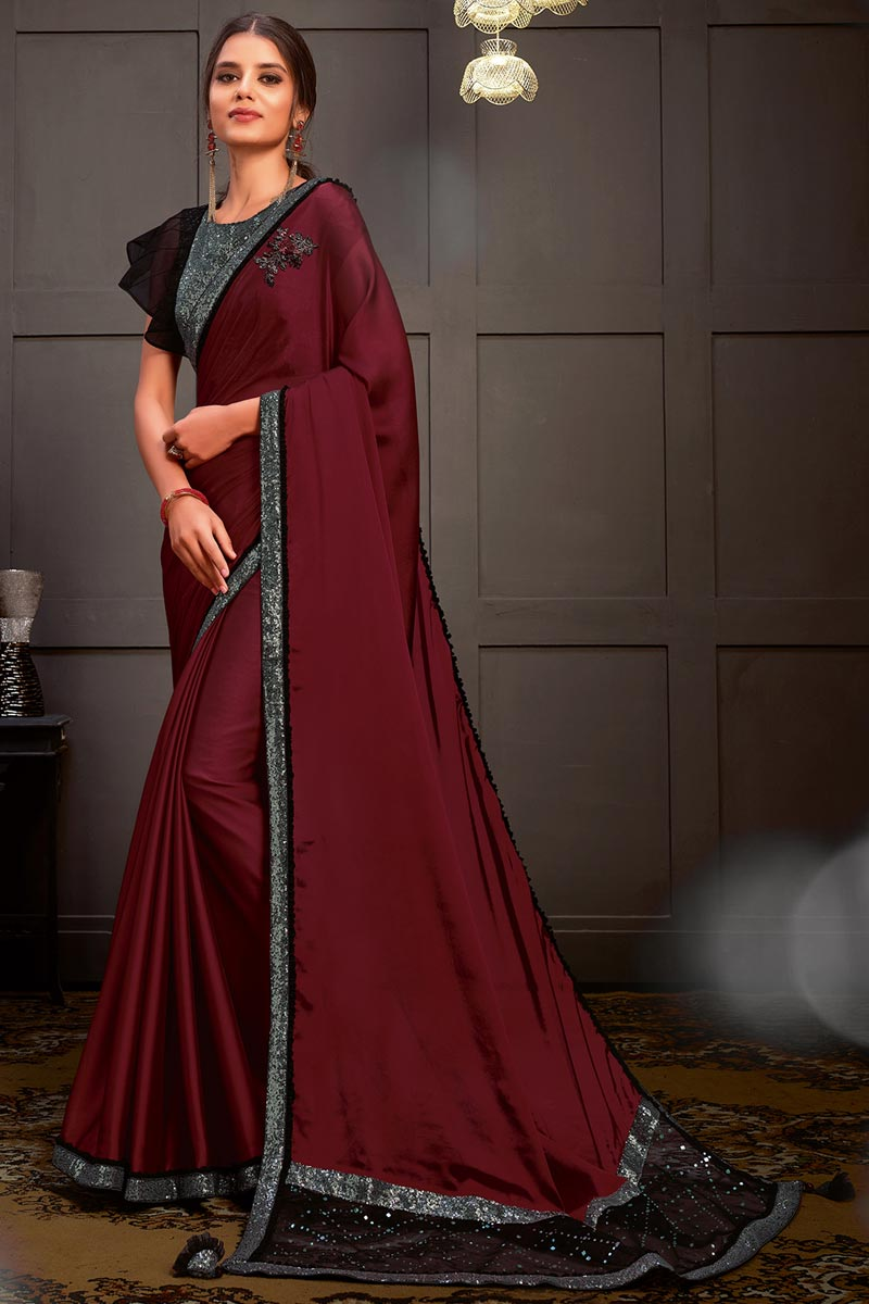 Sangeet Wear Georgette Silk Fabric Sequins Work Saree With Readymade Blouse