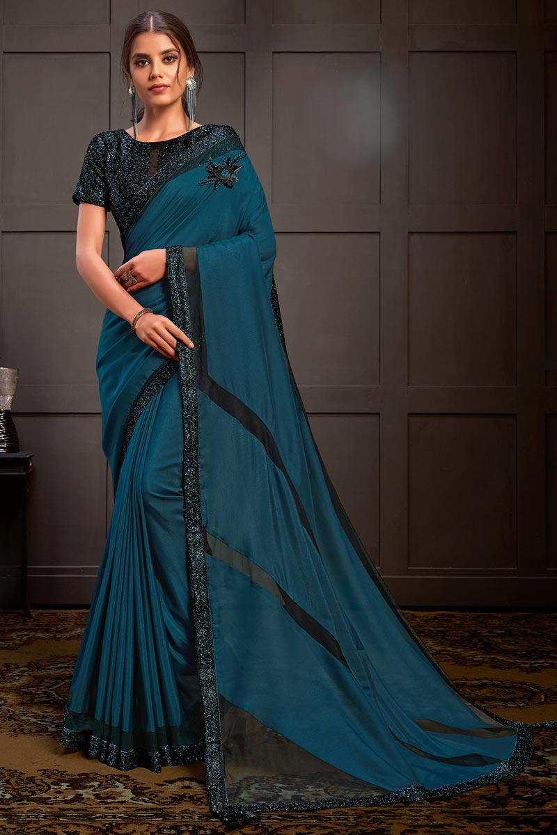 Teal Color Georgette Silk Fabric Sequins Work Saree With Readymade Blouse