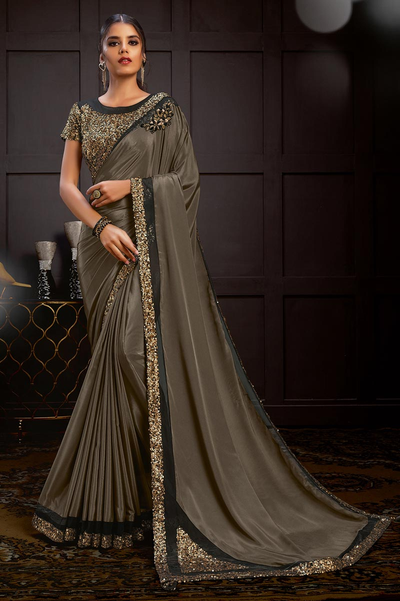 Dark Beige Color Designer Saree With Readymade Blouse
