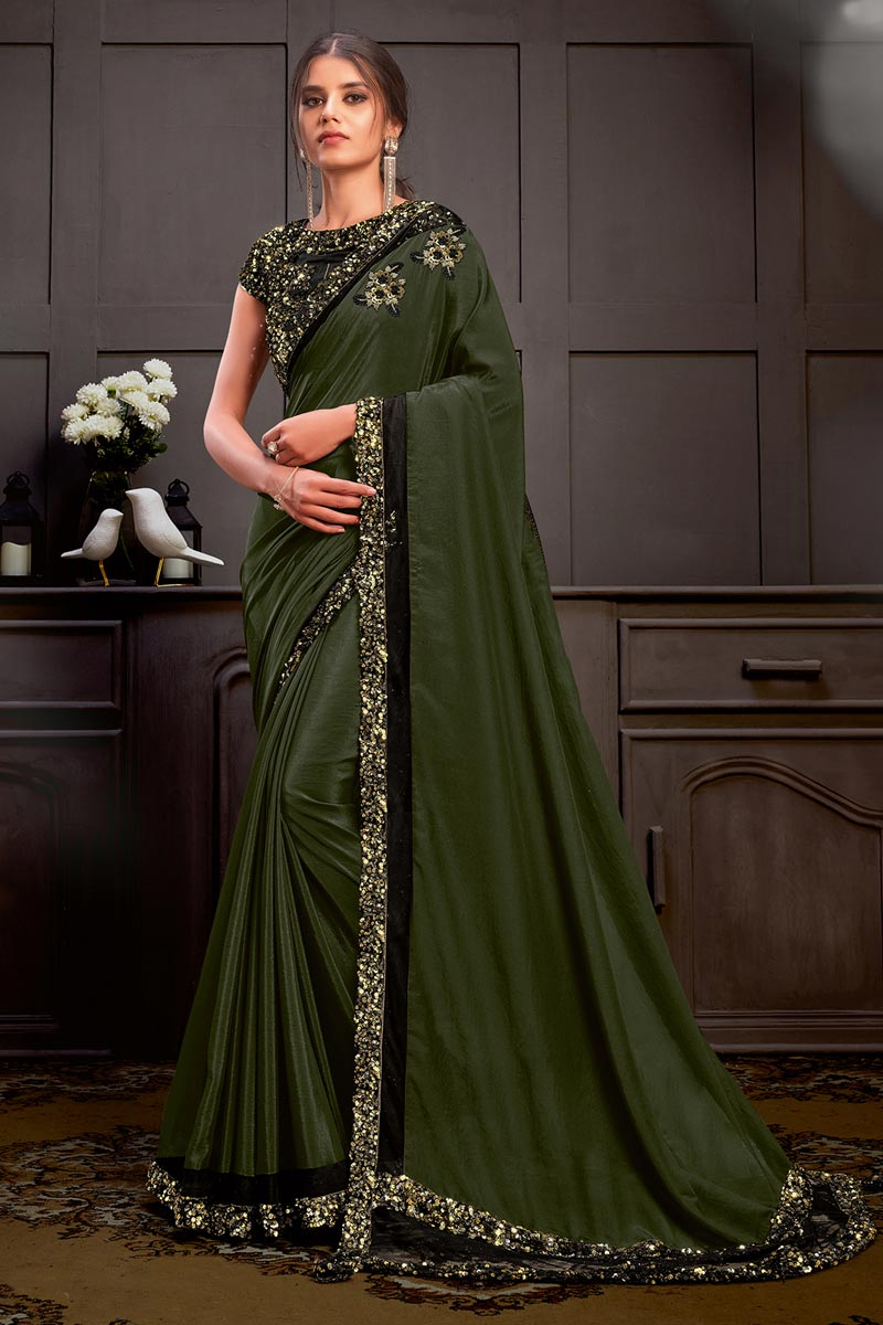 Olive Color Georgette Silk Fabric Festive Wear Saree With Readymade Blouse