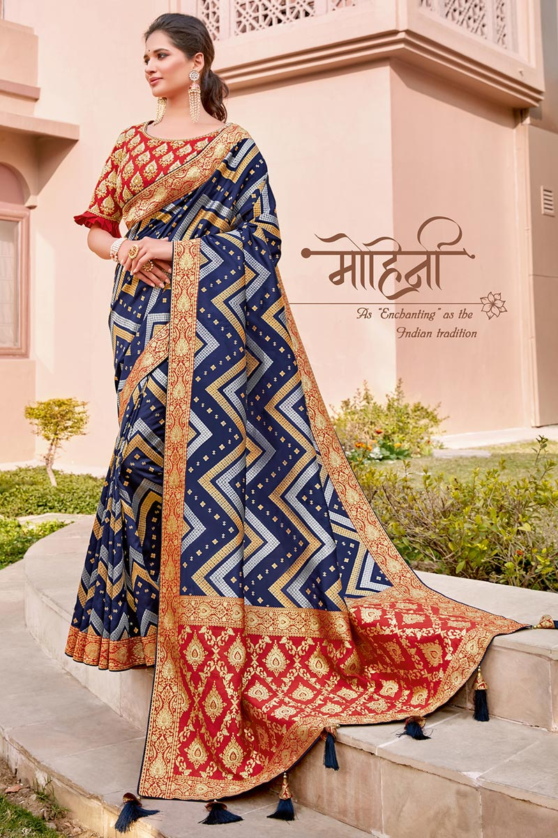 Navy Blue Color Traditional Wear Silk Fabric Trendy Weaving Work Saree