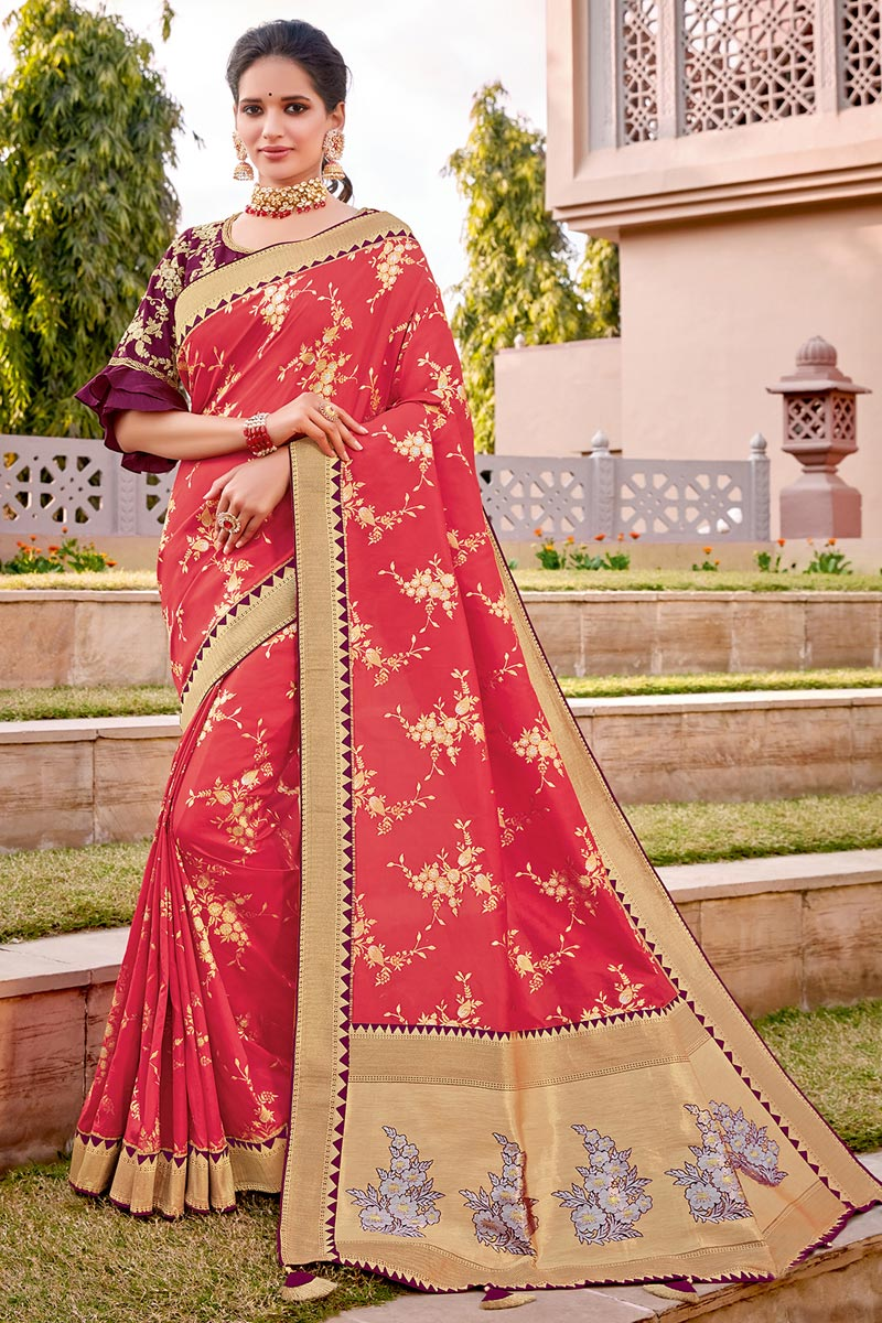 Silk Fabric Traditional Wear Trendy Pink Color Weaving Work Saree