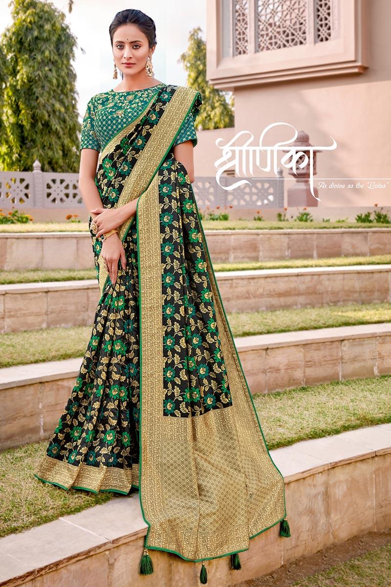 Silk Fabric Traditional Wear Trendy Black Color Weaving Work Saree