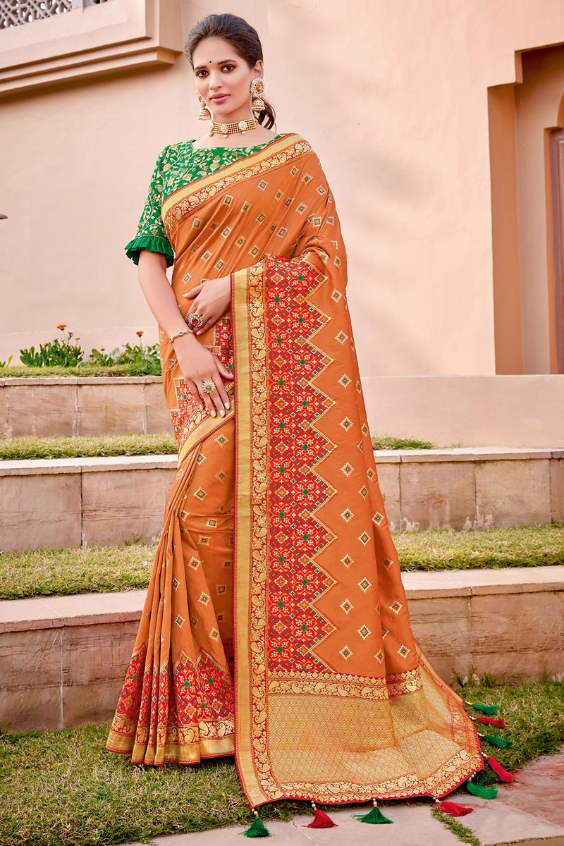 Orange Color Traditional Wear Trendy Silk Fabric Weaving Work Saree