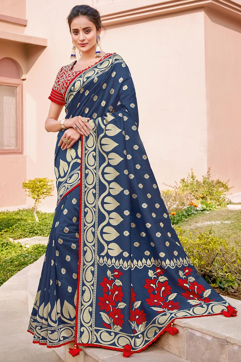 Silk Fabric Traditional Wear Navy Blue Color Trendy Weaving Work Saree