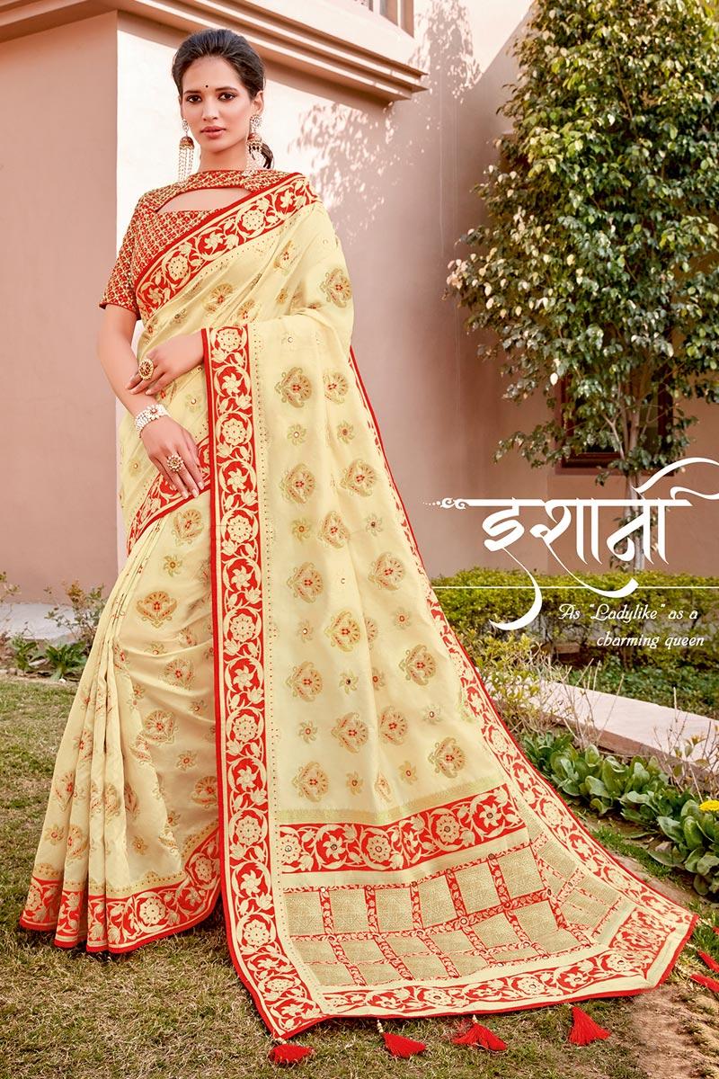 Beige Color Traditional Wear Trendy Silk Fabric Weaving Work Saree