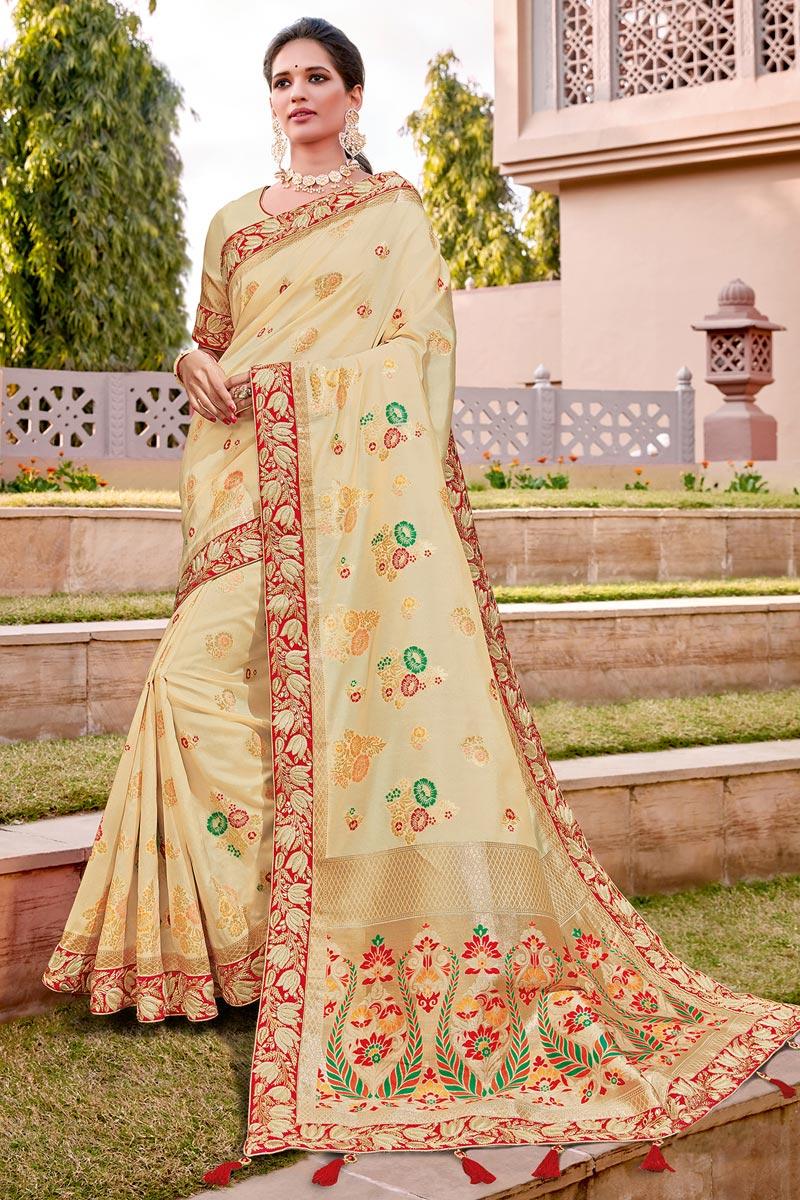 Silk Fabric Trendy Wedding Function Wear Beige Color Weaving Work Saree