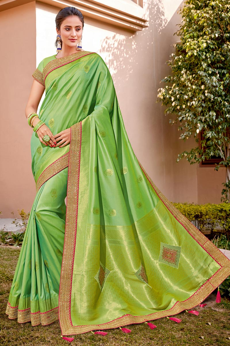 Sea Green Color Wedding Function Wear Silk Fabric Trendy Weaving Work Saree