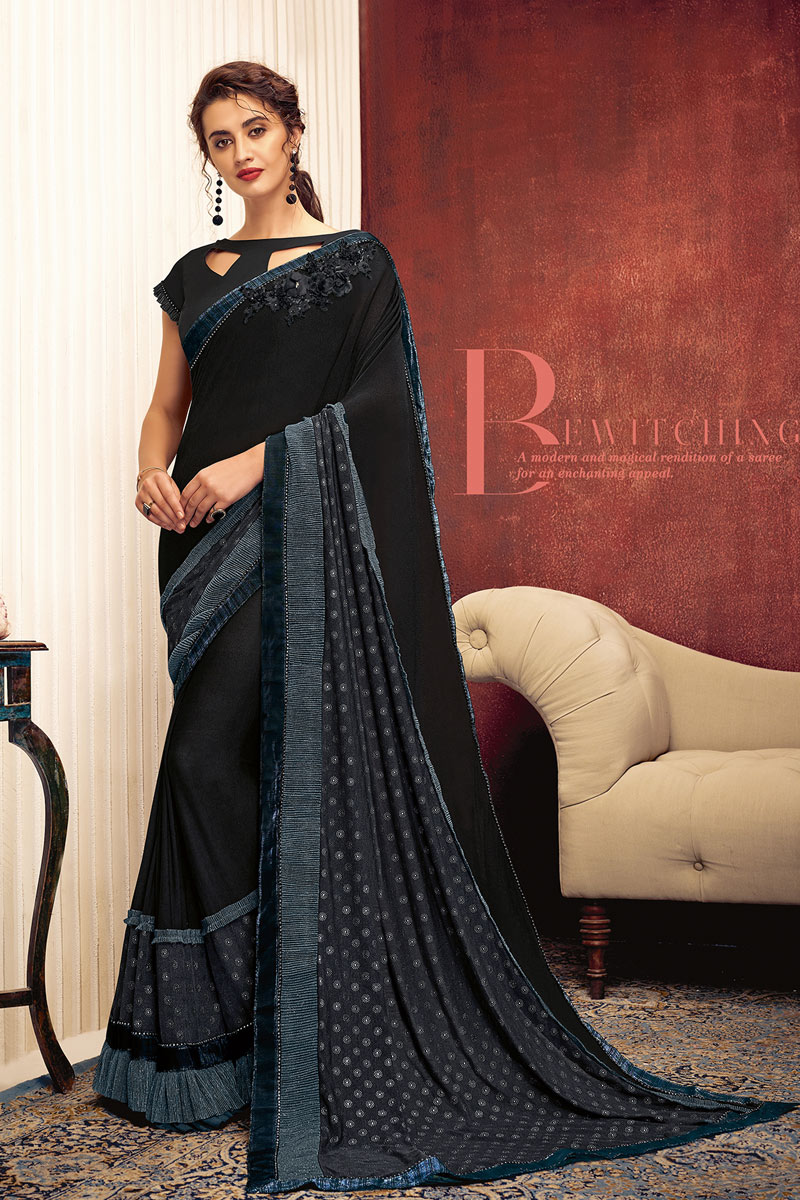 Black Color Lycra Party Wear Saree With Border Work And Enigmatic Blouse