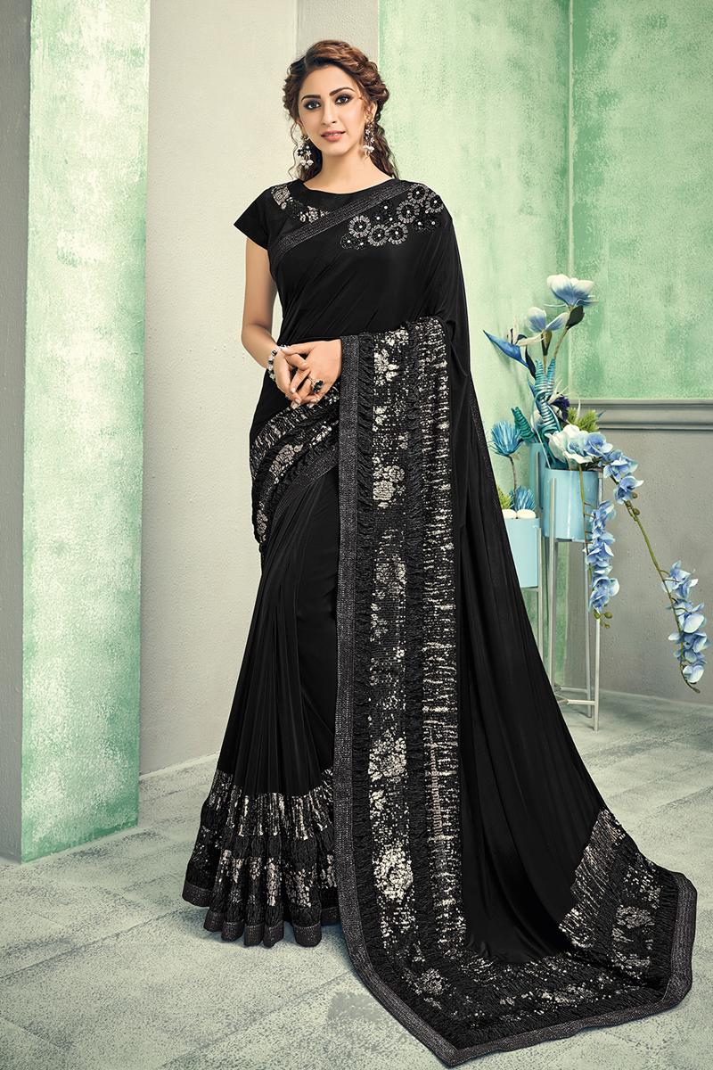 Black Color Lycra Fabric Festive Wear Saree