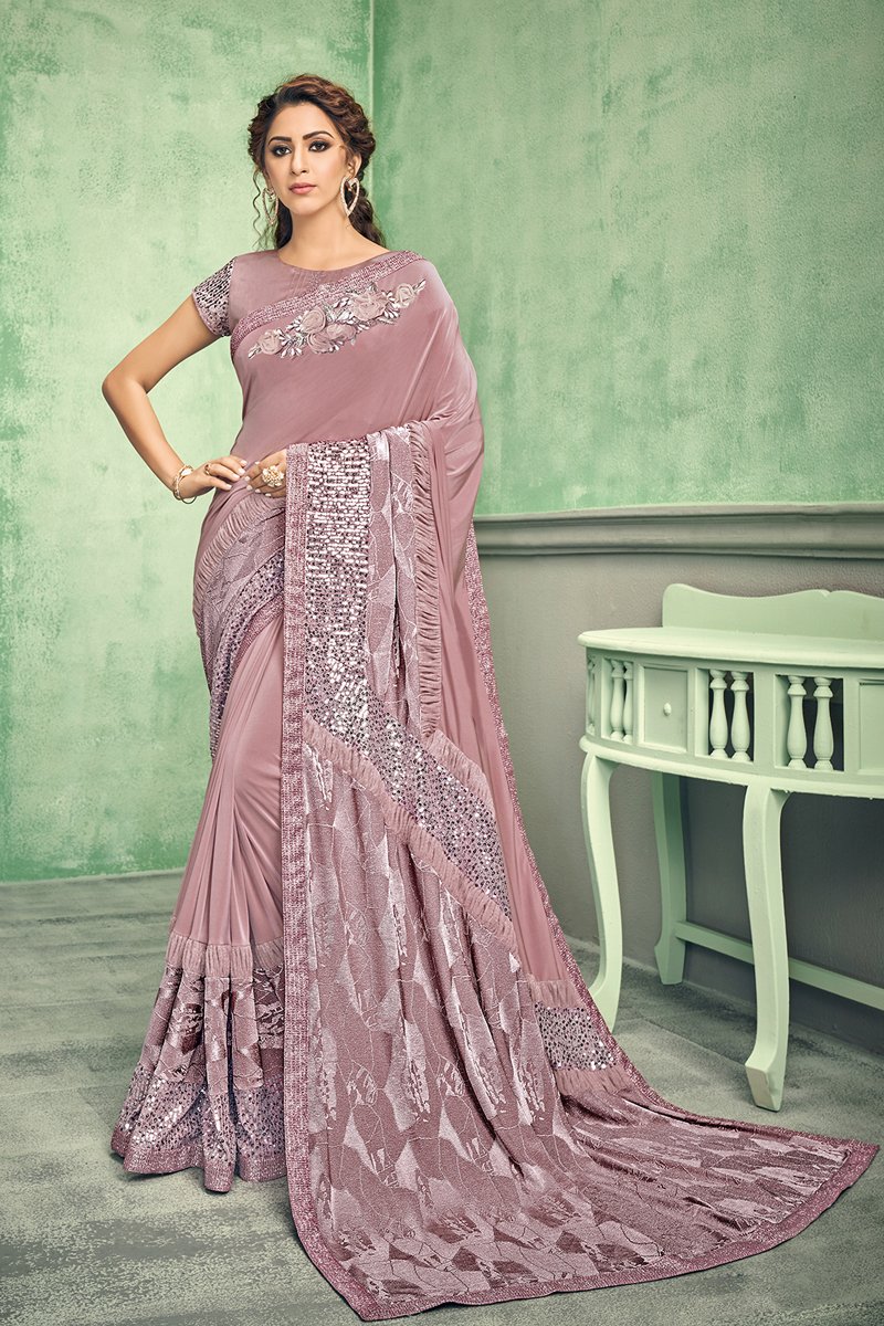 Festive Special Pink Color Lycra Fabric Function Wear Saree