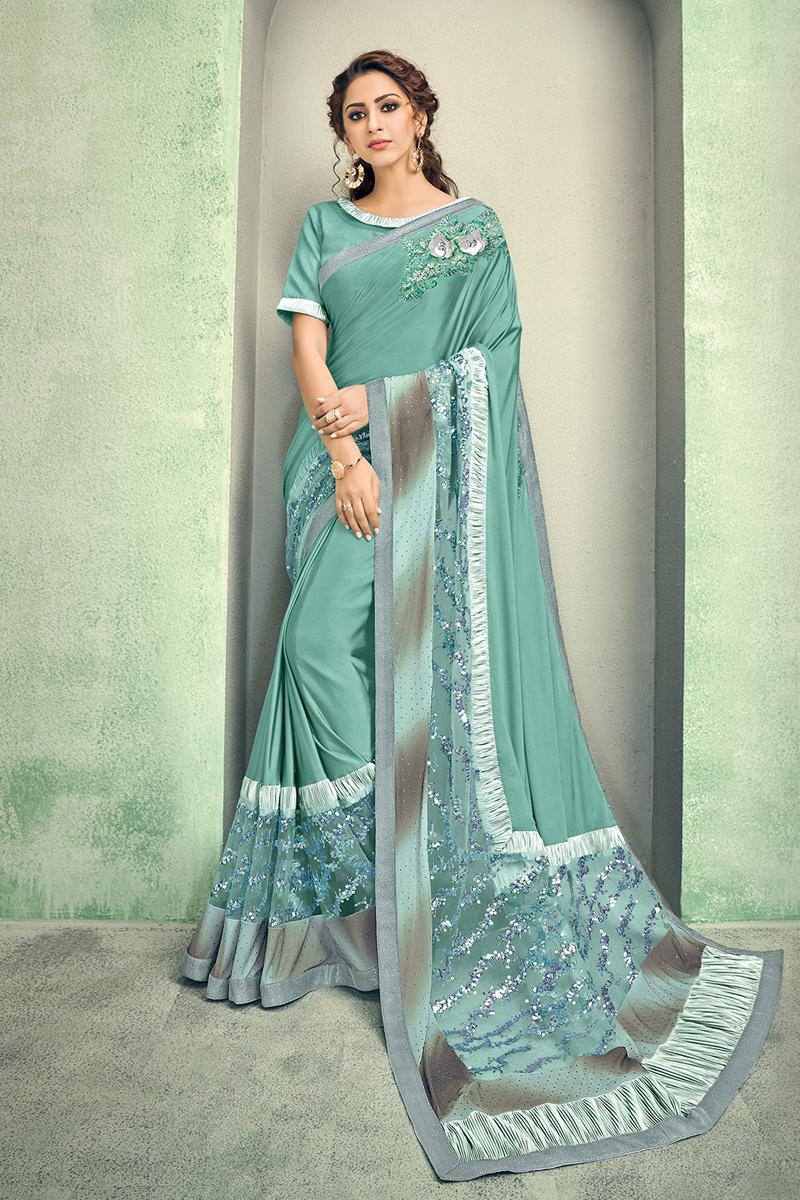 Lycra Fabric Sea Green Color Designer Saree