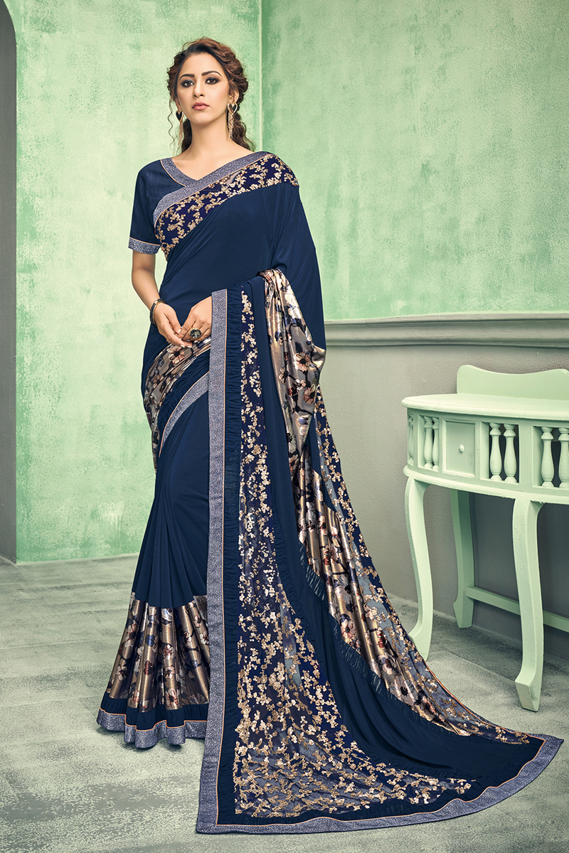 Festive Special Navy Blue Color Lycra Fabric Occasion Wear Saree
