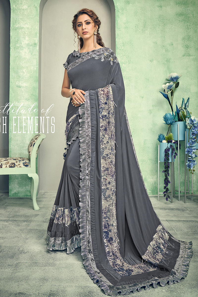 Festive Special Designer Grey Color Lycra Fabric Party Wear Saree