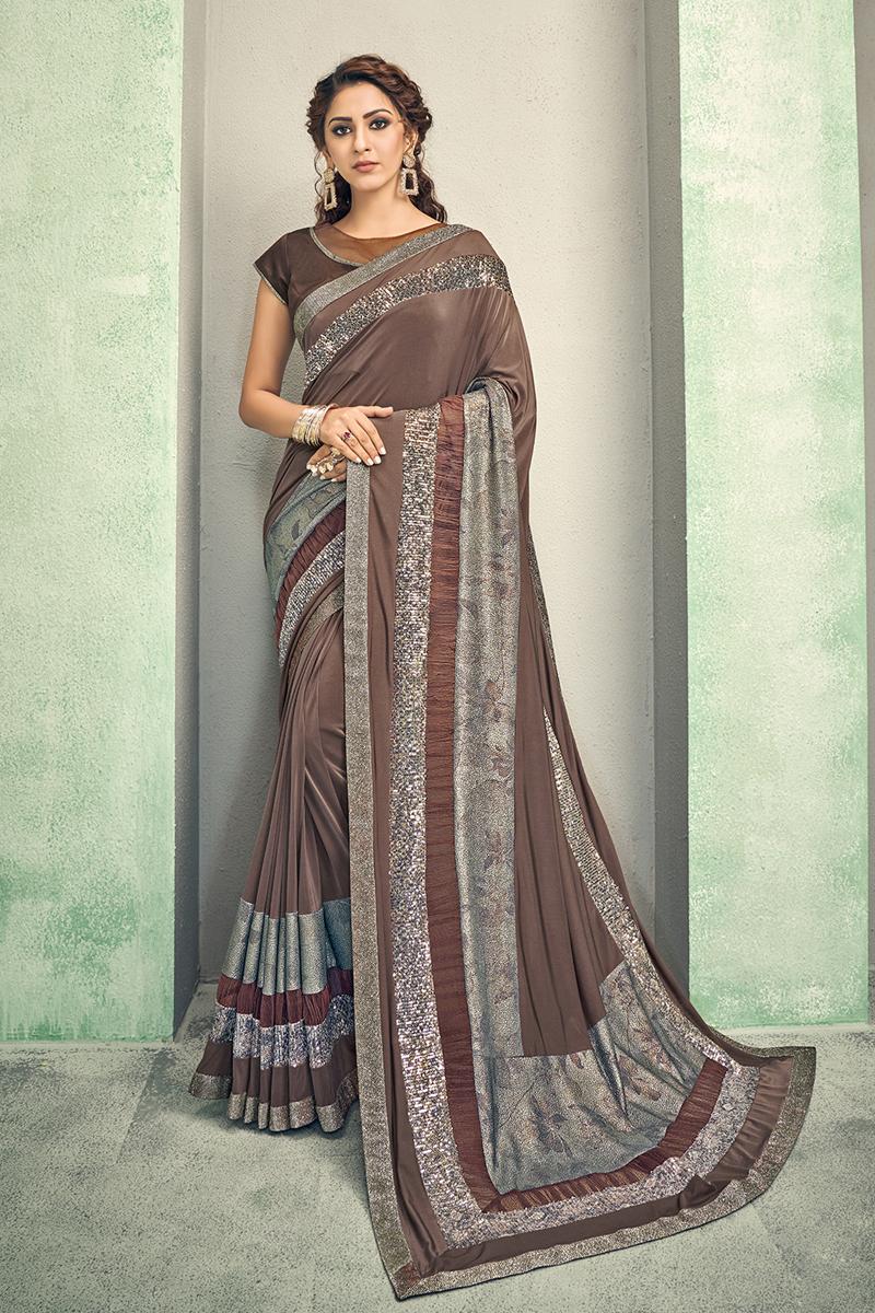 Lycra Fabric Dark Beige Color Designer Saree