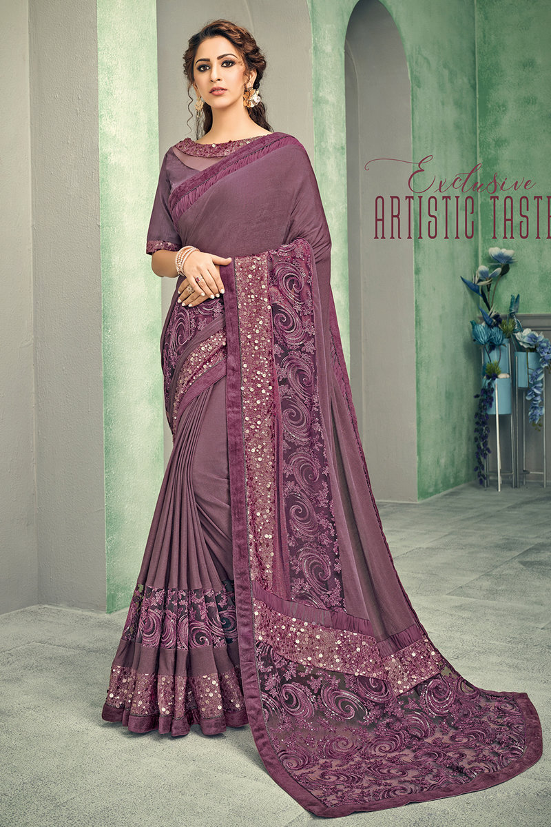 Lavender Color Lycra Fabric Occasion Wear Saree