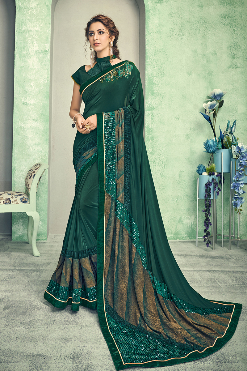 Fancy Dark Green Color Lycra Fabric Sangeet Wear Saree