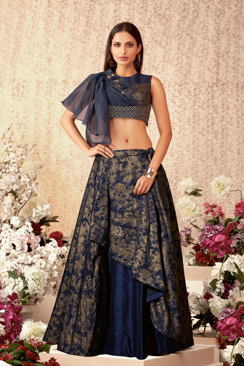 Embroidered Art Silk And Lycra Fabric Navy Blue Color Festive Wear Lehenga With Embroidery Work