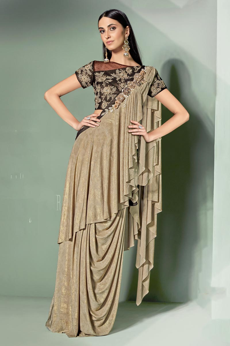Embroidery Work On Cream Color Lycra Fabric Party Wear Ready To Wear One Minute Saree With Amazing Blouse