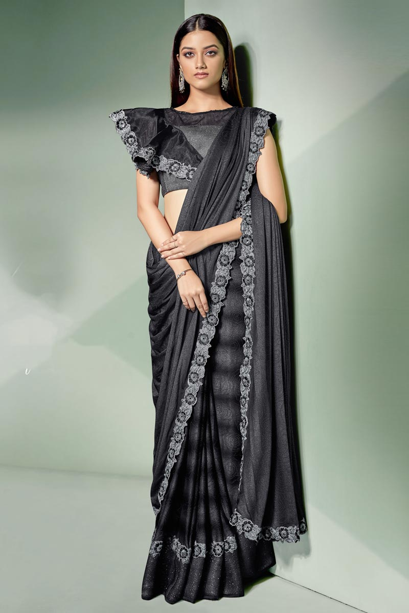 Embroidery Work On Occasion Wear Ready To Wear One Minute Saree In Black Color With Designer Blouse