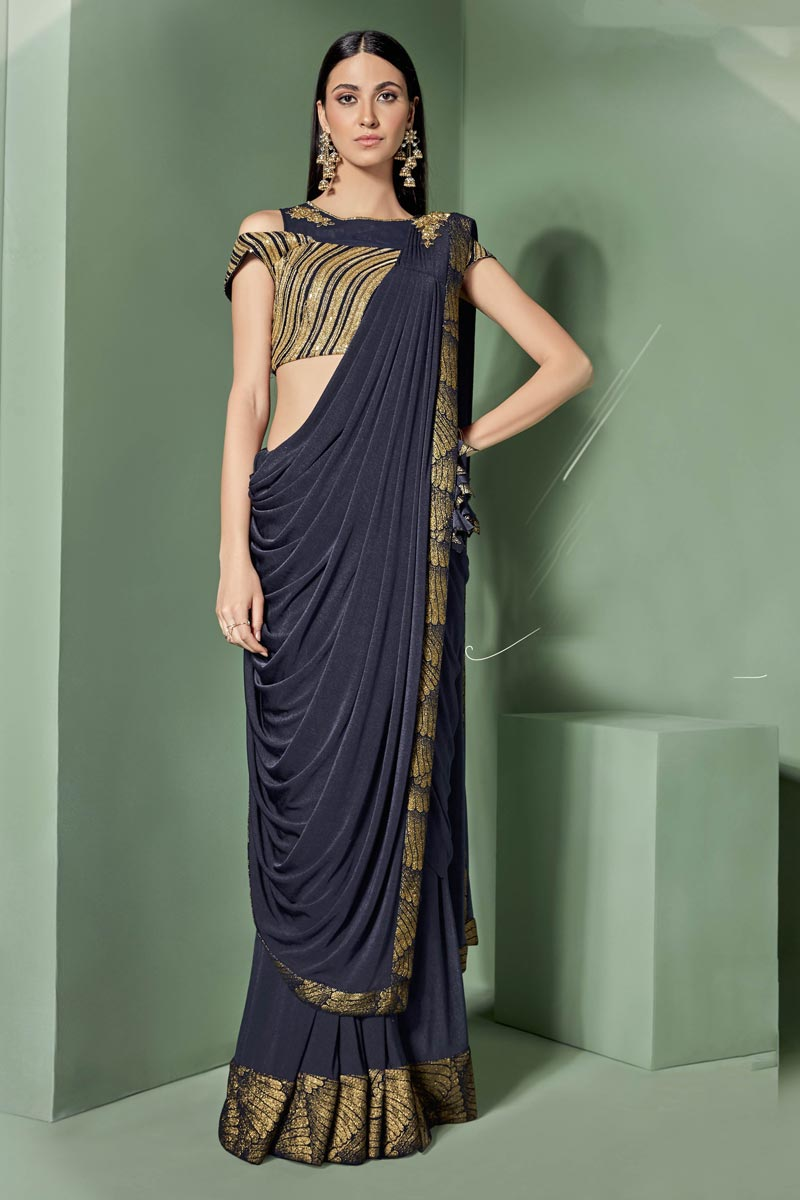 Navy Blue Color Lycra Fabric Wedding Wear Ready To Wear One Minute Saree With Embroidery Work And Gorgeous Blouse