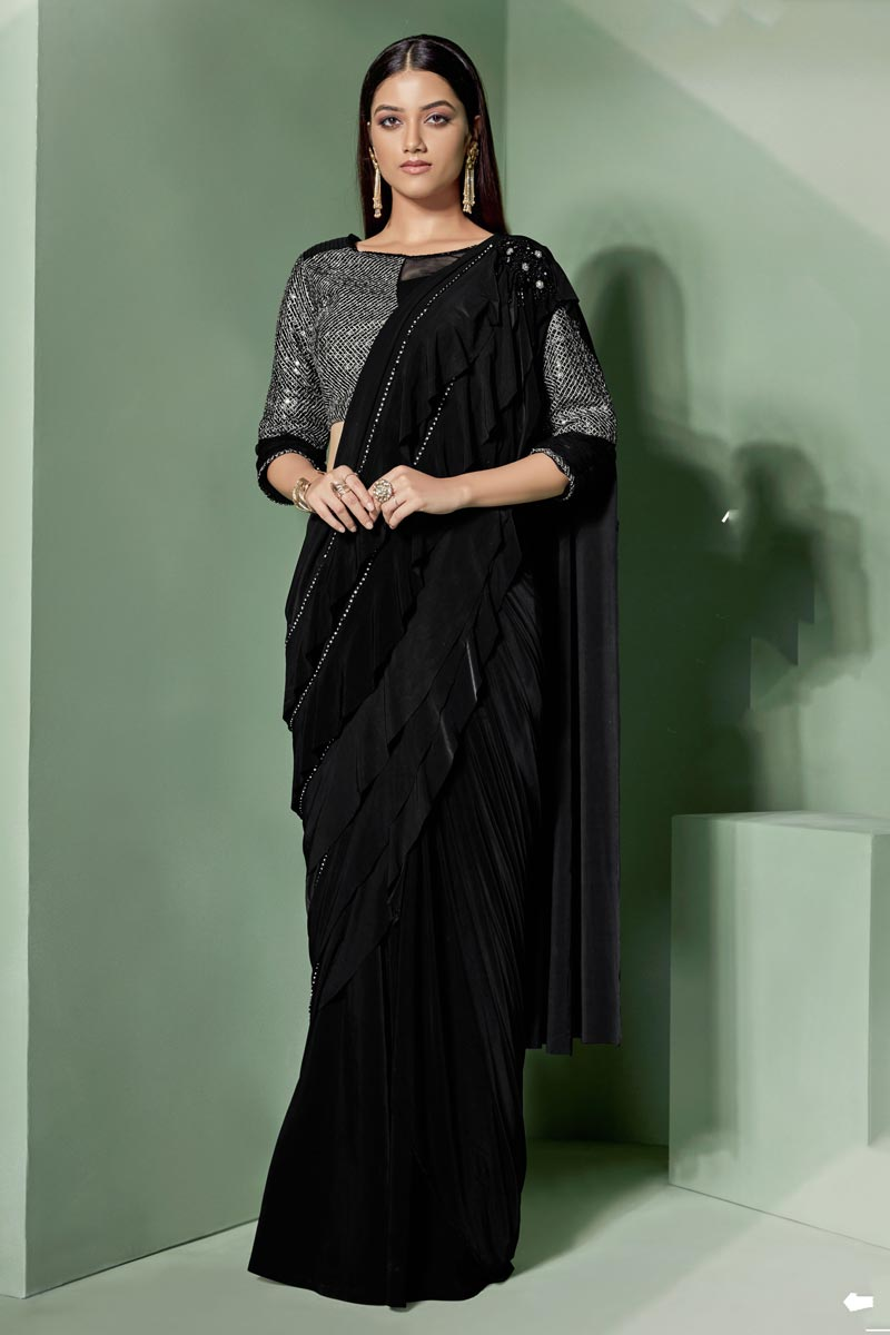 Embroidered Work On Reception Wear Ready To Wear One Minute Saree In Lycra Fabric Black Color With Charming Blouse