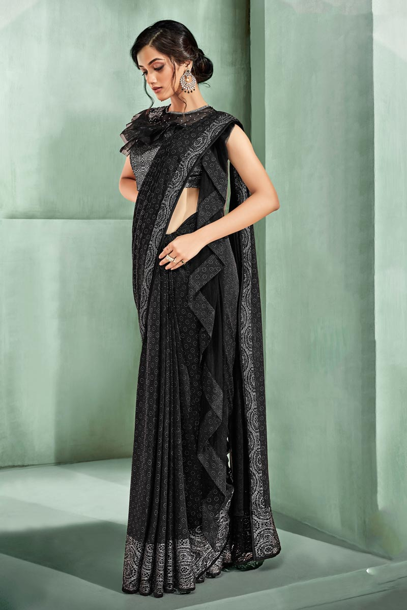 Black Color Party Wear Ready To Wear One Minute Saree In Lycra Fabric With Embroidery Work And Designer Blouse