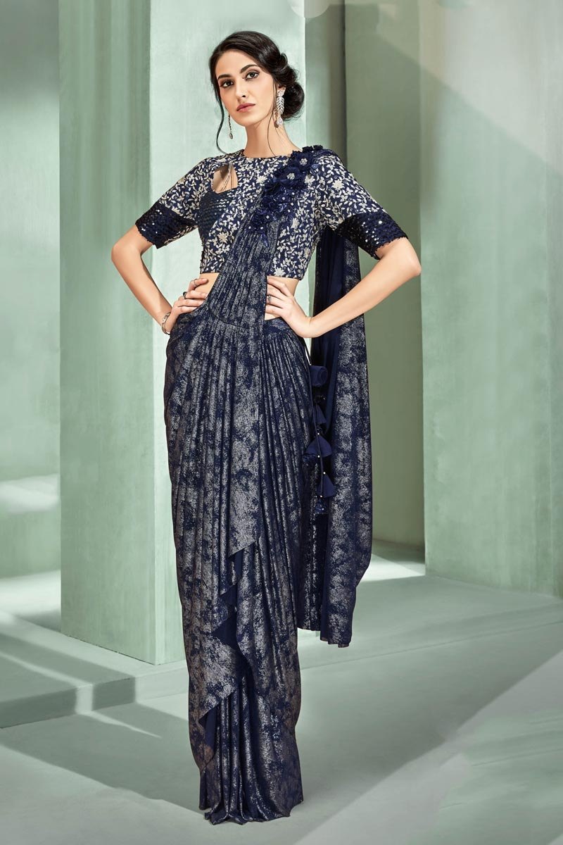 Sangeet Wear Lycra Fabric Ready To Wear One Minute Saree In Navy Blue Color With Embroidery Work And Alluring Blouse