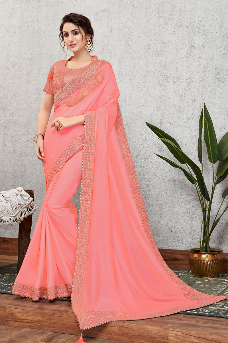 Eid Special Classical Pink Color Designer Party Wear Art Silk Fabric Saree