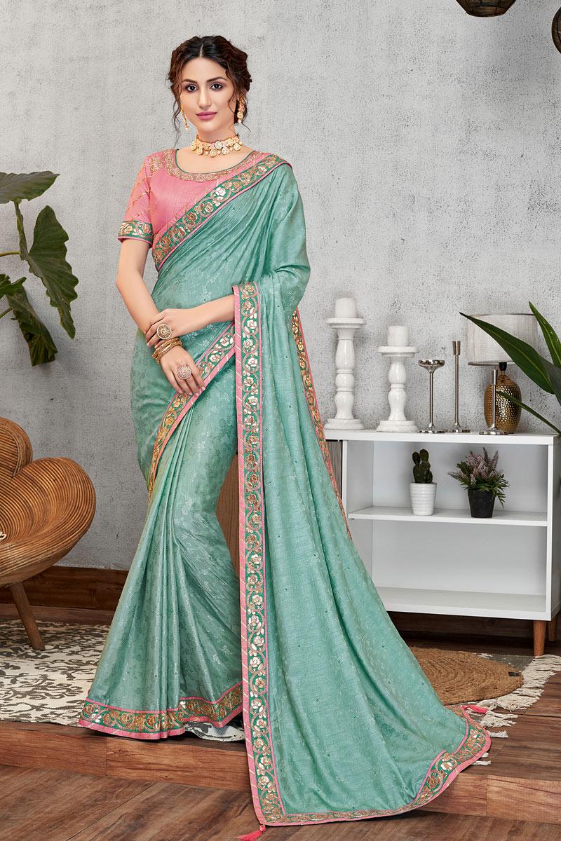 Eid Special Pleasing Light Cyan Color Party Wear Designer Art Silk Fabric Saree