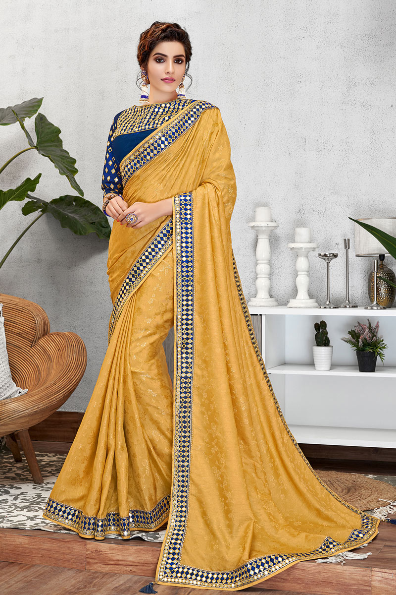 Yellow Color Festive Wear Art Silk Fabric Saree With Embroidery Work