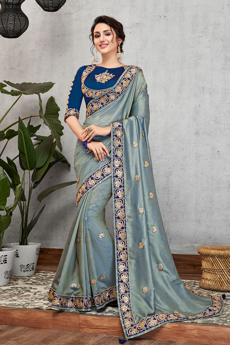 Embroidery Work On Blue Color Art Silk Fabric Saree For Mehendi Ceremony