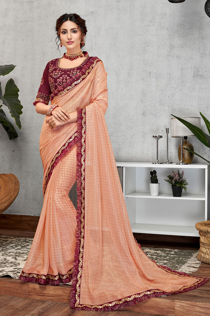 Eid Special Mesmeric Peach Color Designer Party Wear Art Silk Fabric Saree With Blouse