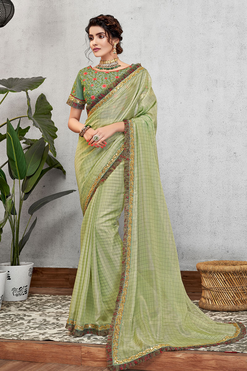 Eid Special Gorgeous Green Color Art Silk Fabric Party Wear Designer Saree
