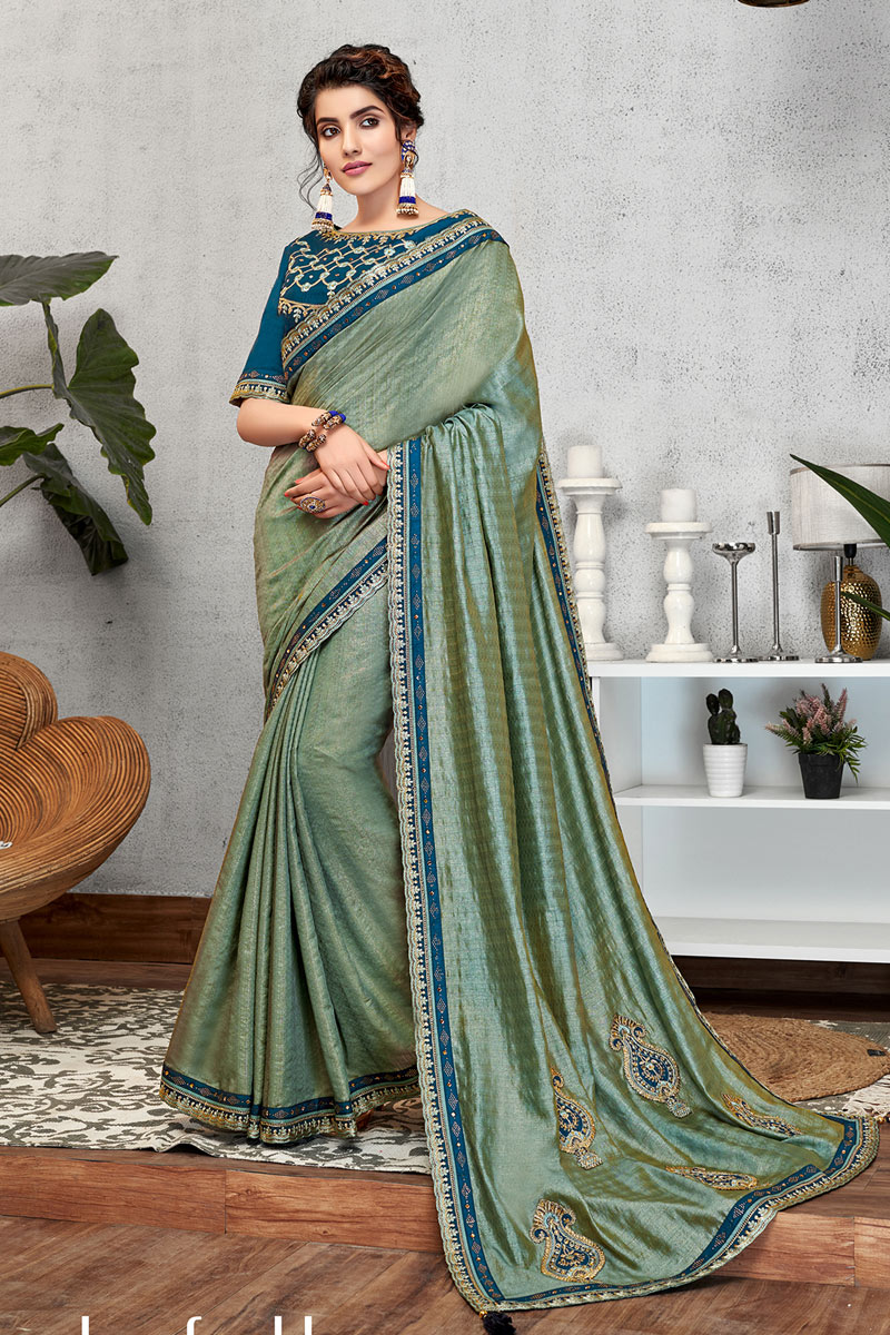 Art Silk Fabric Party Wear Saree In Sea Green Color With Embroidery Work