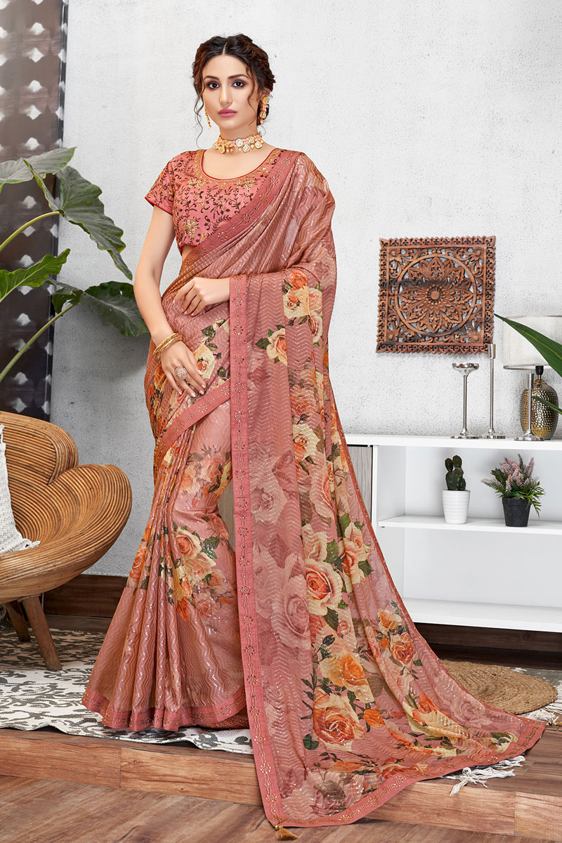 Pink Color Georgette Silk Fabric Festive Wear Saree With Embroidery Work