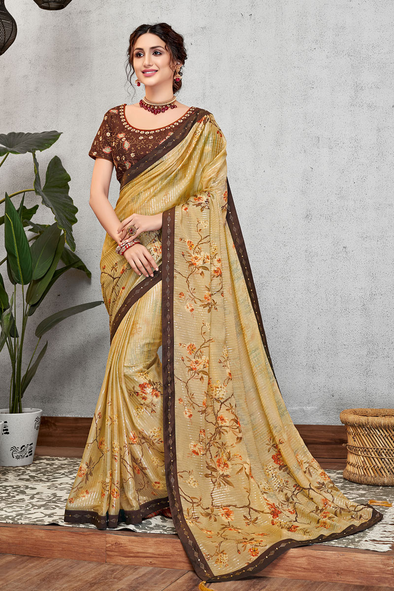 Designer Saree In Beige Color Georgette Silk Fabric With Embroidery Work