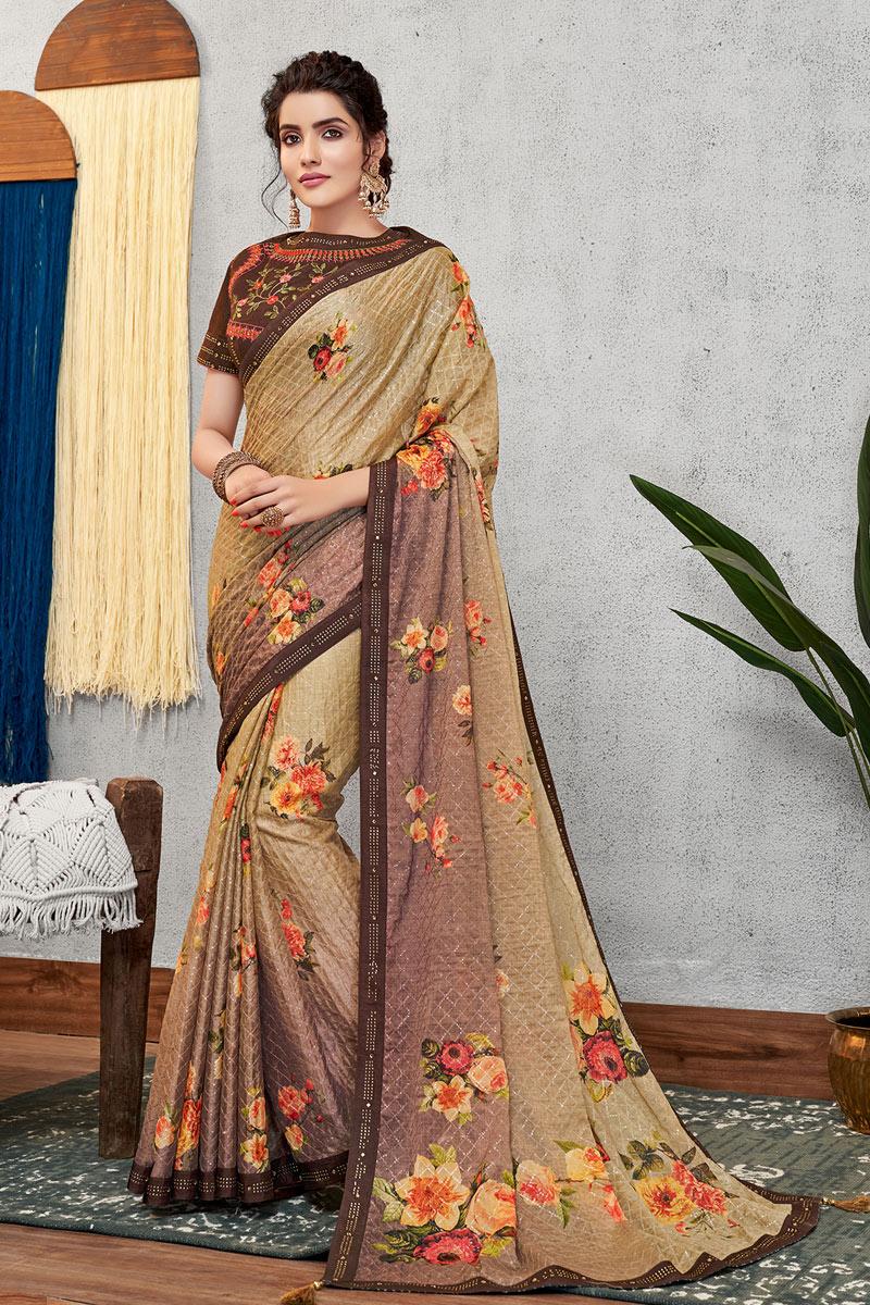 Eid Special Party Wear Beige Color Georgette Silk Fabric Designer Saree
