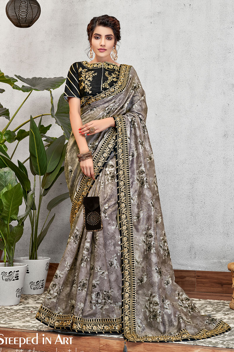Grey Color Embroidered Sangeet Wear Art Silk Fabric Saree With Blouse