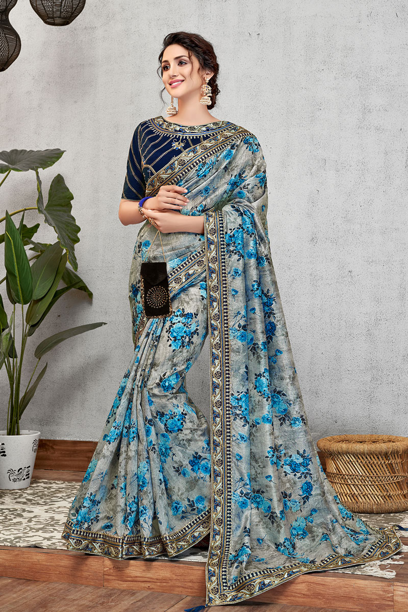 Reception Wear Saree With Embroidery Work In Grey Color Art Silk Fabric
