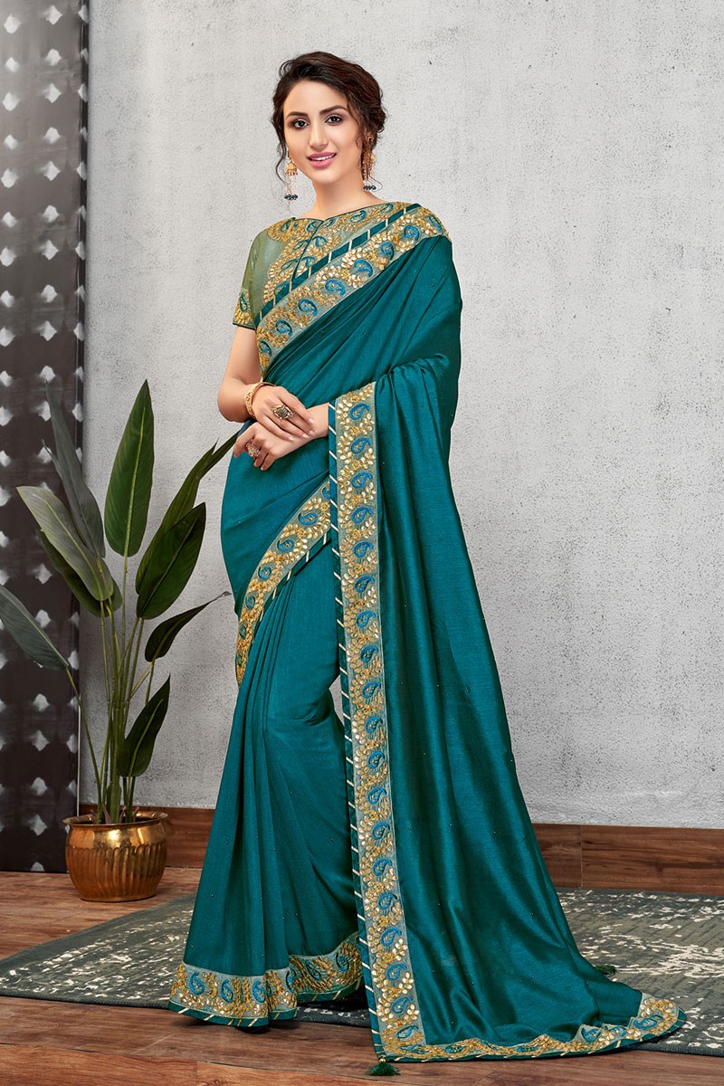 Eid Special Teal Color Designer Georgette Silk Fabric Party Wear Saree With Heavy Work