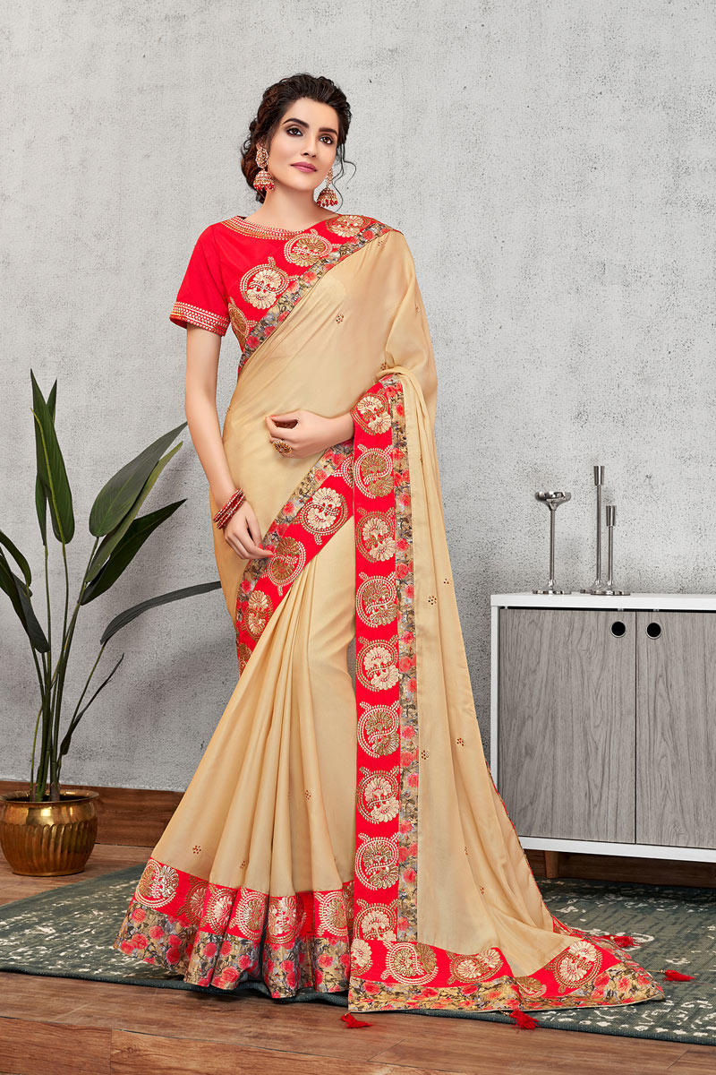 Georgette Silk Fabric Beige Color Festive Wear Saree With Embroidery Work