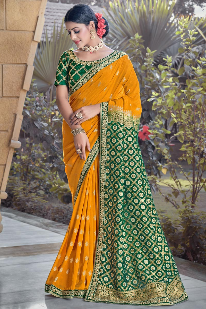 Mustard Color Party Wear Chic Weaving Work Viscose Fabric Saree