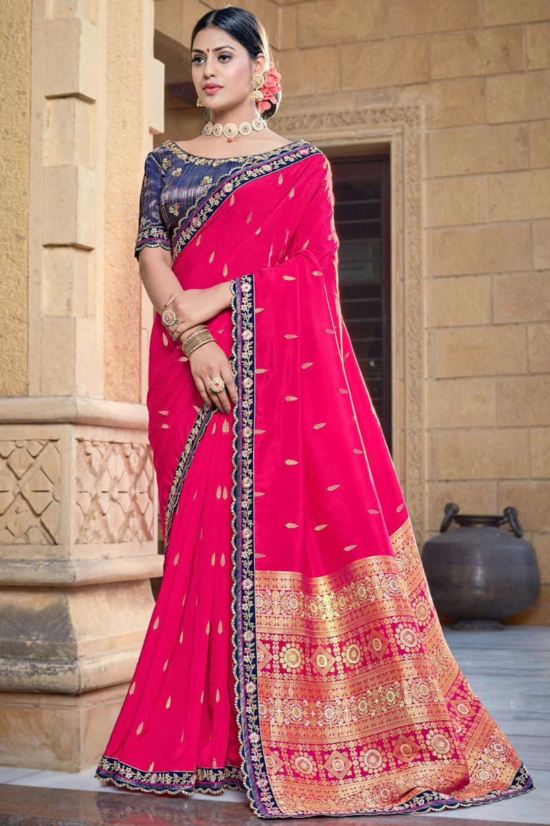 Viscose Fabric Chic Party Wear Rani Color Weaving Work Saree