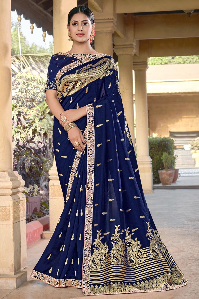 Party Wear Chic Viscose Fabric Blue Color Weaving Work Saree