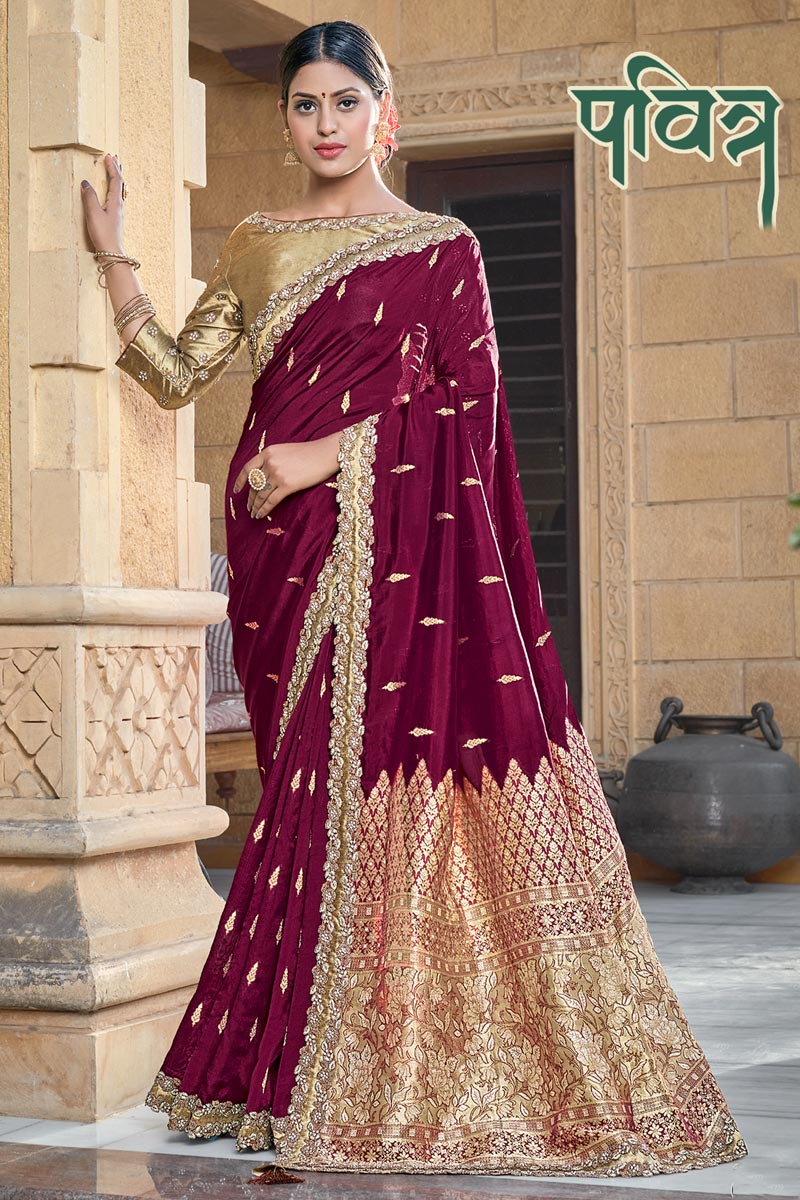 Wine Color Party Wear Chic Viscose Fabric Weaving Work Saree